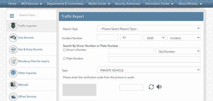Qatar Traffic Accident Report Online
