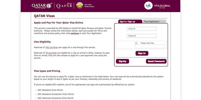 Apply Qatar Visa Online Website