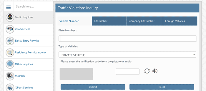 Check Traffic Violations Page MoI Website
