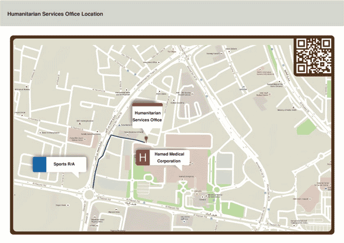 Qatar Humanitarian Services Office Location Map