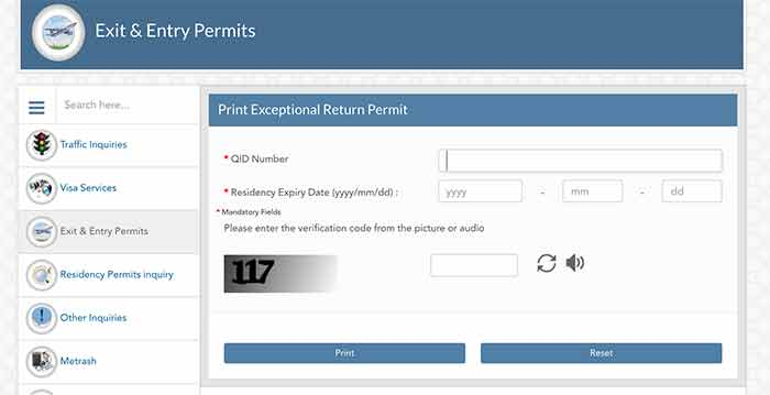 Qatar Automatic Exception Entry Permit Procedure Screenshot 4