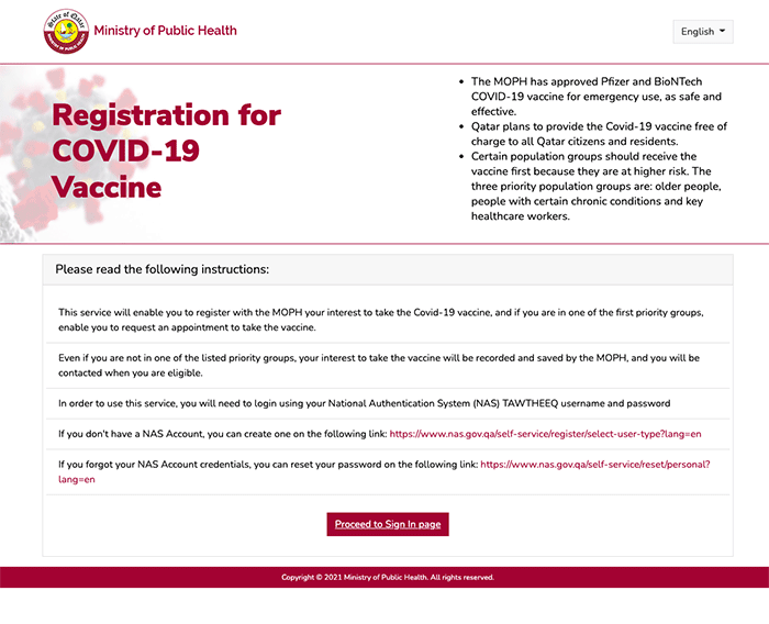 How to get COVID vaccine in Qatar - Registration Website