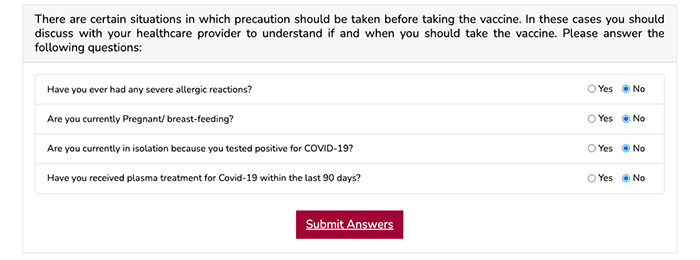 How to register for COVID-19 vaccination in Qatar - Questions Page