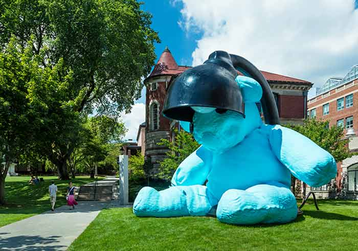 Baby-blue version of the lamp/bear displayed in Brown University